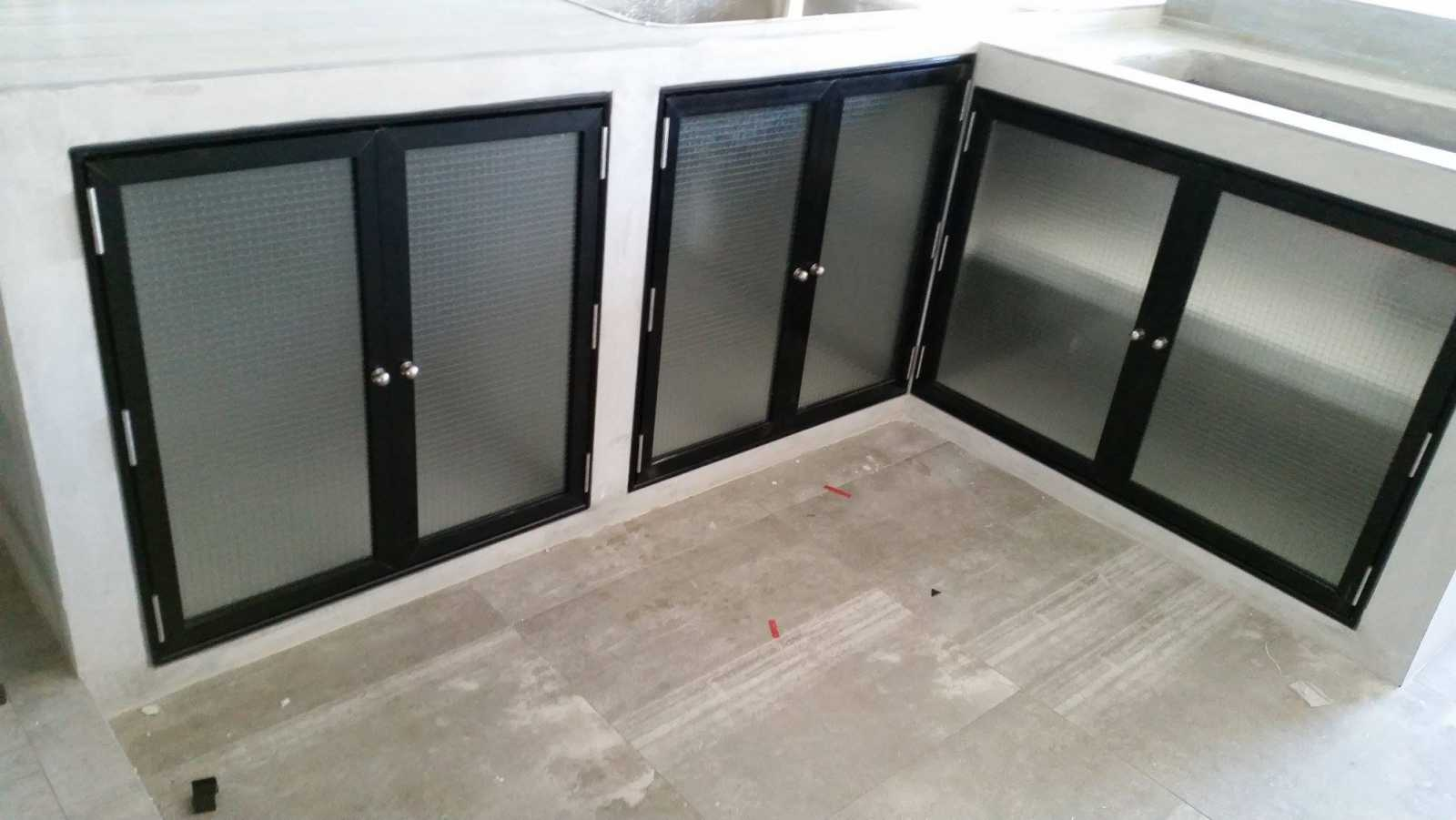 Black Aluminium Kitchen Cabinet Doors
