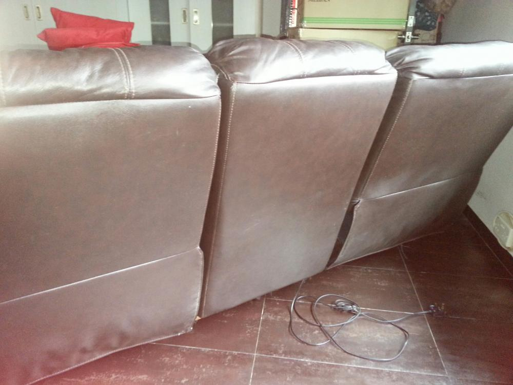 Half Leather Electric 3 Seaters Reclining Sofa 400