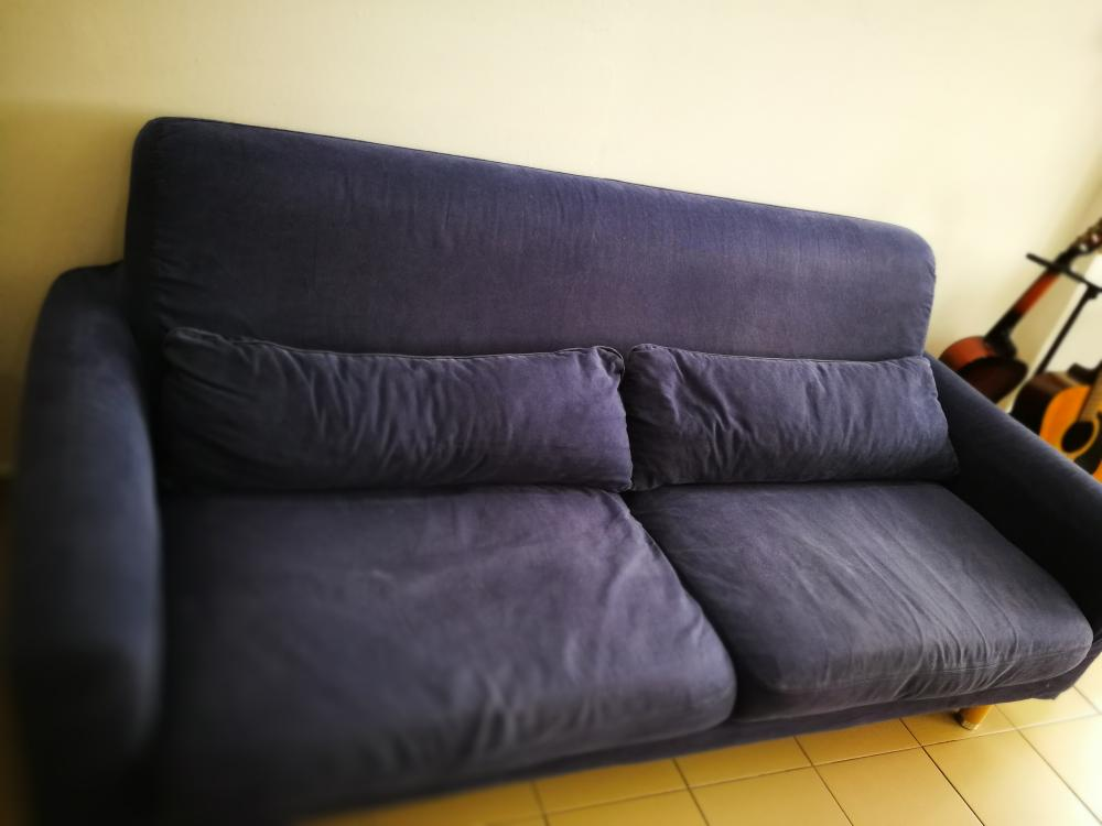 3 seater IKEA sofa Navy Blue with 2 sets of sofa cover