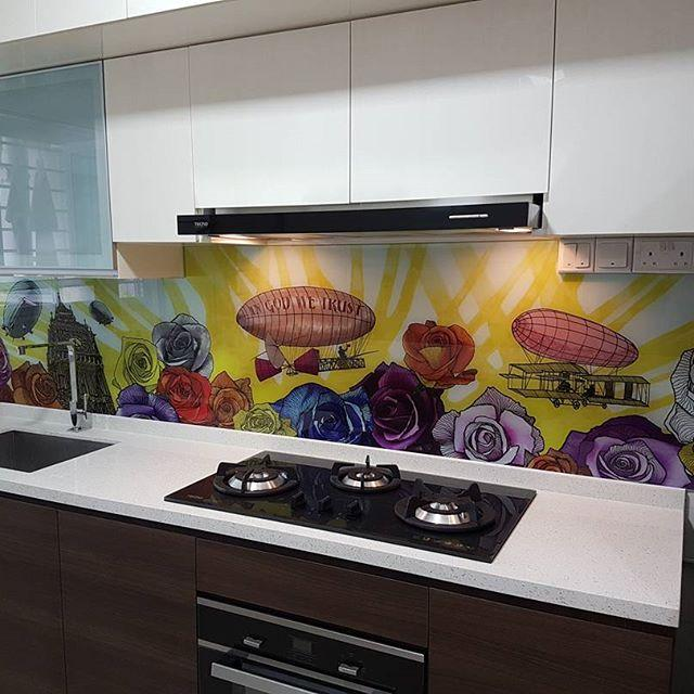 any feedback on art designs for tempered glass kitchen backsplash and