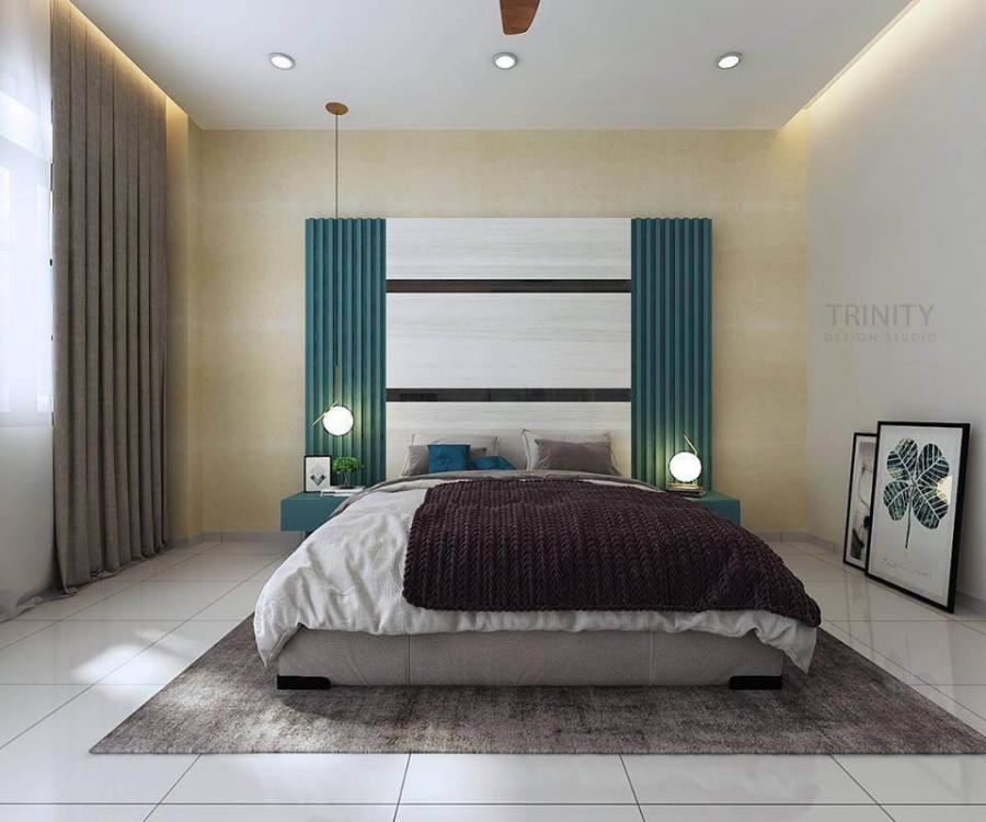 chateau @ eco botanic, contemporary bedroom, interior designer in johor bahru, trinity design studio