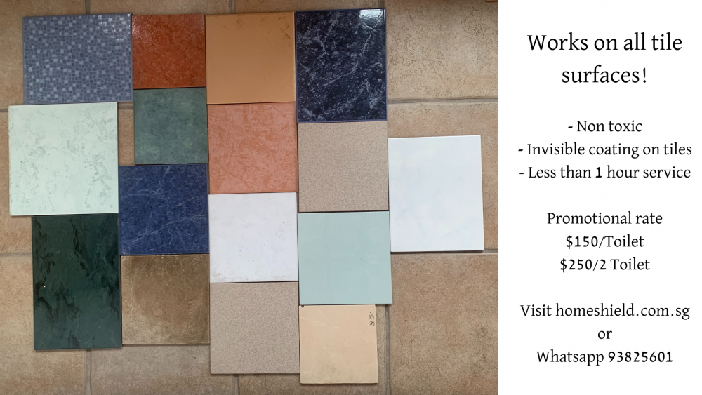 Works on all tile surfaces! - Non toxic - Invisible coating on tiles - Less than 1 hour service Visit homeshield.com.sg or Whatsapp 93825601.png