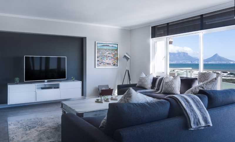 blue grey white living room