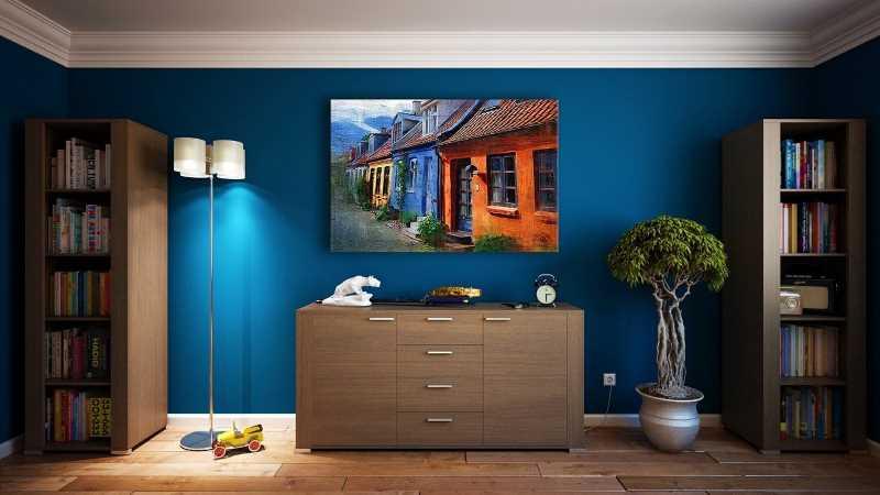 blue wall modern home