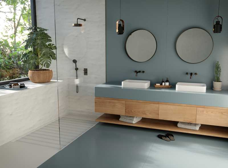 Silestone Sunlit Days Cala Blue Bathroom