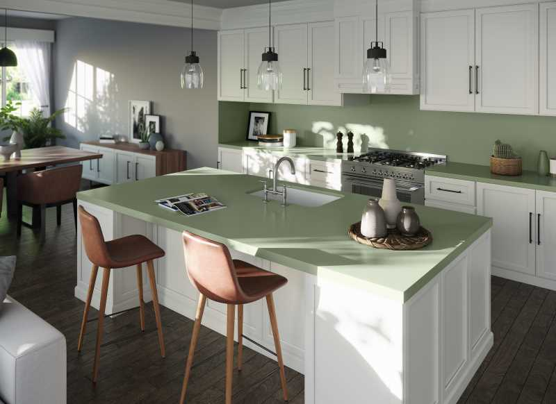 Silestone Sunlit Days Posidonia Green Kitchen