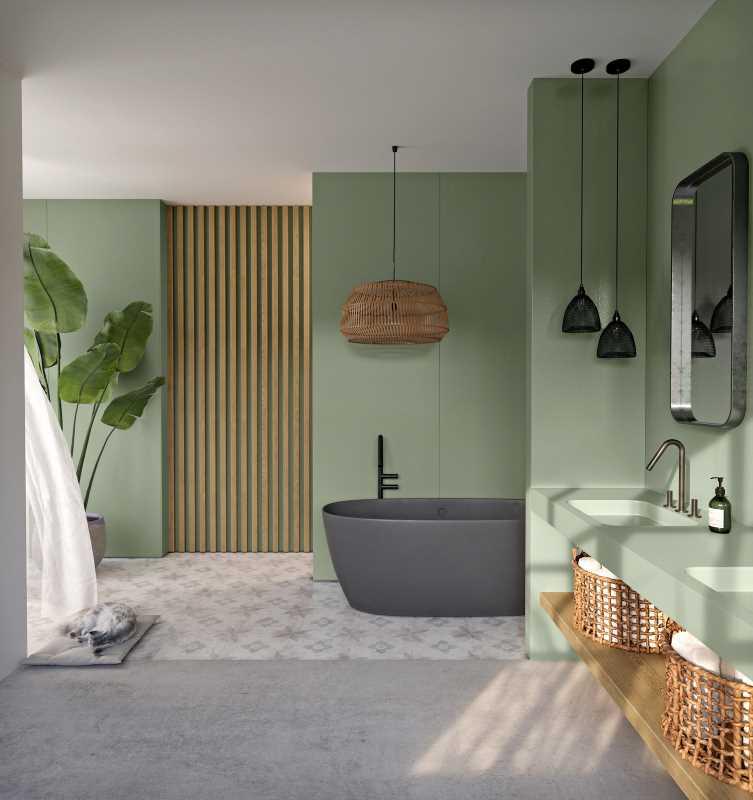 Silestone Sunlit Days Posidonia Green Bathroom
