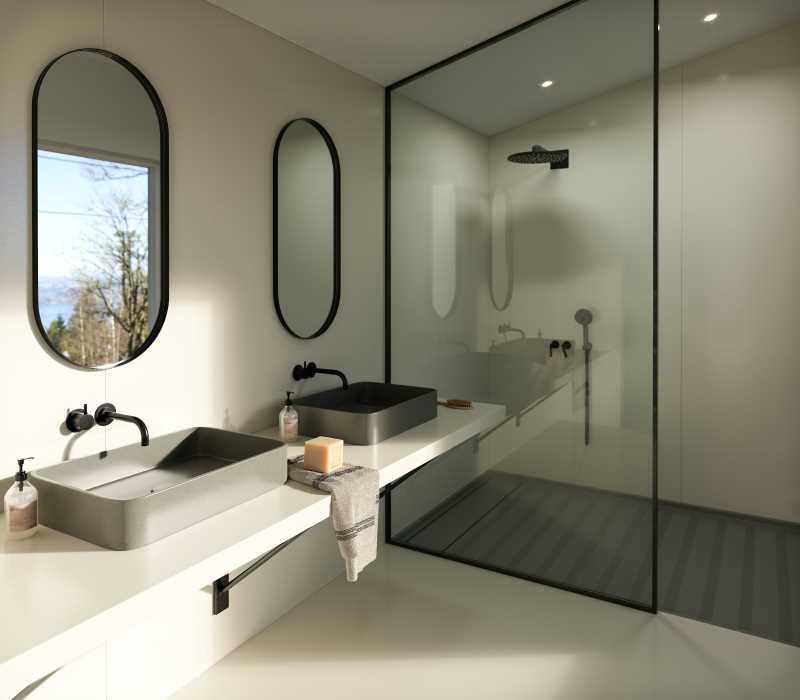 Silestone Sunlit Days Faro White Bathroom