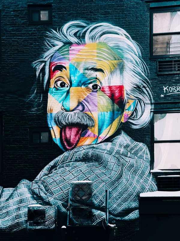 wall art of Albert Einstein