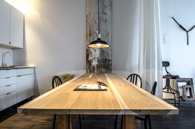 A wooden dining table